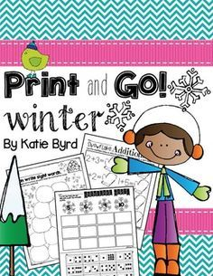 Looking for some quick activities for your Kindergarten class with a winter and snow theme? These are for you! This set has lots of black and white practice pages perfect for homework, morning work, or independent centers.