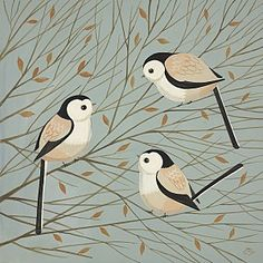 Tattling Titmice by Catriona Hall
