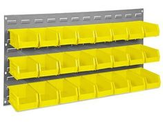"""36 x 19"""" Wall Mount Panel Rack with 7 1/2 x 4 x 3"""" Yellow Bins by Uline. $73.00. Bench / Panel Racks - Maximum storage in minimum space. Panel rack mounts on walls, saves floor and workbench space. Uline stocks a wide selection of Bench And Panel Racks."""