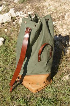 Vintage 1960's Backpack/Duffle Swiss Army, Sturdy and wonderful military  Crossbody Shoulder Bag