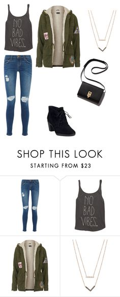"""Lauren's Look"" by annetfm ❤ liked on Polyvore featuring Current/Elliott, Billabong, Topshop, Michael Kors, Clarks, women's clothing, women, female, woman and misses"