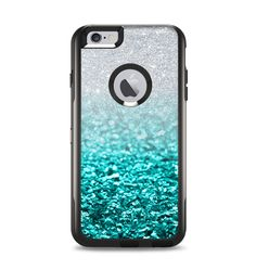 The Tiffany Blue & Silver Glimmer Fade Apple iPhone 6 Plus Otterbox Commuter Case Skin Set