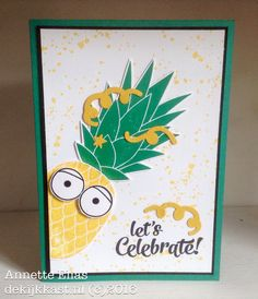 handmade celebration card from The Watch Case ... turned the big pinapple into a character with big eye and confetti in its hair ... Emerald + Crushed Curry ... super-fun card! ... Stampin' Up!