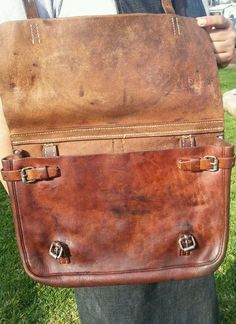 WW2 era 1939 Vintage Swiss Army Leather Messenger bag.