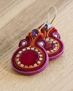 Soutache earrings. Jewelry. India inspired.