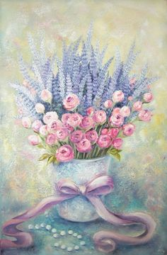 Buy Flowers from Provence, Oil painting by Viktorija Labinaitė on Artfinder. Discover thousands of other original paintings, prints, sculptures and photography from independent artists. Art Floral, Pastel Floral, Cartoon Drawings, Art Drawings, Watercolor Flowers, Watercolor Paintings, Decoupage Vintage, Watercolor Illustration, Vintage Flowers