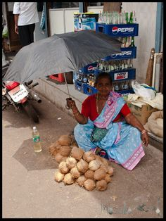Goan selling Coconuts and oil #Goa #India #travel masalaherb.com