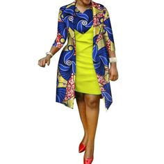 African cotton wax Print Dress and Suit Coat for Women – Afrinspiration African Print Dress Designs, African Print Dresses, African Print Fashion, African Wear, African Attire, African Fashion Dresses, African Women, African Dress, African Design