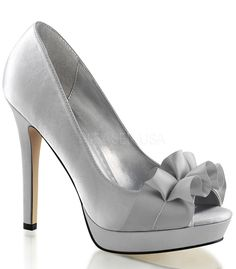 "Lumina Silver Satin peep toe pumps by Fabulicious. Shoes are perfect for a night on the town. A cute peep toe frilled detail for added cuteness. These classic slip on pumps have a 4 3/4"" heel and a 1"""