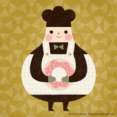 Donut Chef, art print by flora chang | HappyDoodleLand on Etsy