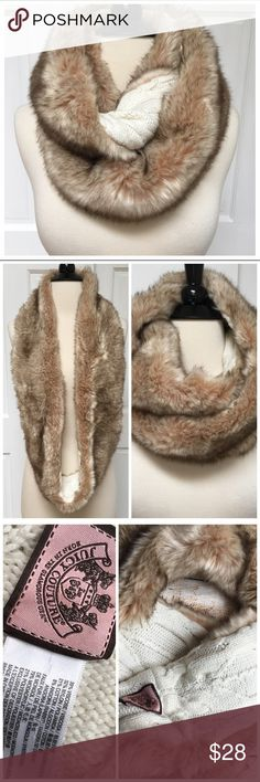 {Juicy Couture} Faux Fur Cable Knit Infinity Scarf BRAND: Juicy Couture ITEM: Faux Fur & Cable Knit Infinity Scarf FEATURES: Beige/Brown Faux Fur Outside with Cream Cable Knit Inside SIZE: O/S  CONDITION: Like New  ALL ITEMS SHIP FROM SMOKE FREE HOME! NO Trades. NO Holds. NO PayPal. NO Lowball Offers. Offer Button Only. Juicy Couture Accessories Scarves & Wraps