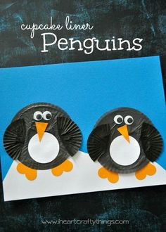 Cupcake Liner Penguin Craft for Kids | Adorable Winter Craft for kids and preschoolers to explore antarctic animals. | From iheartcraftythings.com