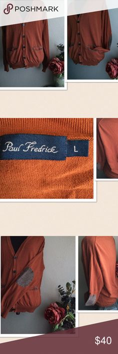 Paul Fredrick Cardigan Sweater Paul Fredrick Cardigan Sweater. V Neck button front closure design. 2 front pockets with leather like trim/ binding. Patch at the back of sleeves. Ribbed design at the waistband and sleeve cuffs. Material: 💯 % cotton. Size: Large. Color: Between a Rust and Orange. Gently preowned. Excellent condition. If this condition is not right for you do not purchase. Paul Fredrick Sweaters V-Neck