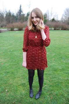 Gotta love the polka dots. F21, Cute Dresses, Tights, Polka Dots, Dress Shoes, My Style, Winter, How To Wear, Inspiration