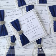 Navy Wedding Invite | The Ariel Collection - Luxury Flat Invitation | Featuring white pebble paper, navy blue ribbon and diamante heart embellishment | Luxury handmade wedding invitations and stationery #byenchanting