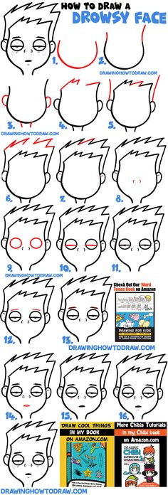 How to Draw Cartoon Facial Expressions : Drowsy, Tired, Feeling Sick - How to Draw Step by Step Drawing Tutorials Cartoon Faces, Cartoon Drawings, Drawing Lessons, Drawing Tips, Word Drawings, How To Draw Steps, Easy Canvas Painting, Silly Faces, Cool Books