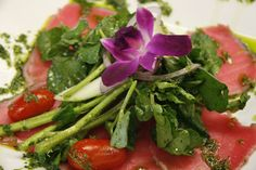 Tuna Carpaccio With a Dressed Watercress Salad - see more featured Fresh Catch menu items at Reel Seafood Co. - www.reelseafoodco.com/menu/fresh-catch