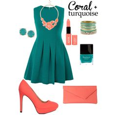 Coral and Turquoise by tinawalters on Polyvore featuring polyvore fashion style Jolie Moi Charlotte Russe L.K.Bennett BKE BP. Carolee NYX Butter London