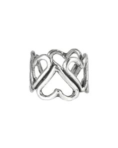 Oxidized Silver Heart Ring Cuff - JewelMint