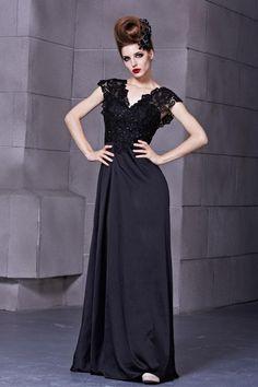 Gorgeous Appealing Flower Hollow V-Neck High Waist Evening Dresses