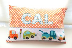 Personalized Baby Pillow: 16 x 24 by ReyMade on Etsy Cal loves orange and is into trucks :-)