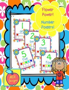 These bright and cheerful number posters are part of my Flower Power collection and can be purchased here separately or Back To School Activities, School Resources, Teacher Resources, Classroom Resources, My Flower, Flower Power, Flowers, Number Posters, Classroom Decor