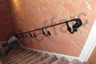 Wrought iron style handrail with scroll ends, ornamental brackets - Sheffield Architectural Metalworkers Banister Rails, Staircase Handrail, Oak Stairs, Metal Stairs, Stair Treads, Exterior Handrail, Wrought Iron Handrail, Iron Handrails, Floating Staircase