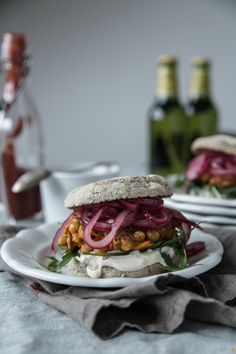 Chickpea-Sweet Potato Burger with Pickled Onions