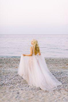 romantic coastal wedding gorgeous blonde bride wearing a romantic lace wedding gown Greece Wedding, Love Deeply, Thessaloniki, Wedding Gowns, Tulle, Flower Girl Dresses, Romantic, Silhouette, Bride