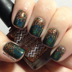 Glitter Gradient using Elevation Polish Lost in the Darkness 2 and Painted Polish #PSL