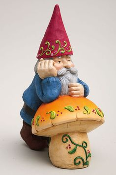 Thinking Gnome w/ Mushroom Garden Statue Outdoor Decor