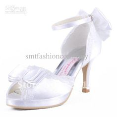 Wholesale A3202-PF White Peep Toe High Heel Platform Bow Lace Satin Wedding Bridal Shoes Ladies' Pumps, Free shipping, $89.59-98.55/Pair | DHgate