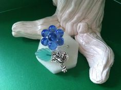 Frog Jewelry Adjustable Frog Ring Blue Flower by Originalsbydenise