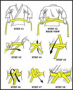 How to tie an Obi (belt for Judo, Karate, Aikido, Jujutsu) Karate Shotokan, Kenpo Karate, Kyokushin Karate, Karate Gi, Goju Ryu Karate, Hapkido, Muay Thai, Viet Vo Dao, Martial Arts Techniques