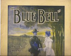 Blue Bell, March Song and Chorus, Vintage Sheet Music, Military Cover Art, Madden and Morse, Victorian Dress, Blue, White, Yellow by BettywasaBombshell on Etsy