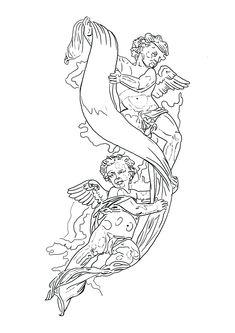 Jesus Christ Drawing, Baby Angel Tattoo, Tattoo Project, Praying Hands, Tattoo Stencils, Outlines, Sleeve Tattoos, Tattoo Designs, Ipad