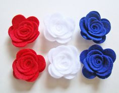 Handmade Felt Rose 6 Patriotic Flower Collection Scrapbooking Embellishment Flowers Red White & Blue on Etsy, $4.99