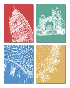 Set of 4 Postcards  London Icons Line Art by lucydodsworth on Etsy, £4.00