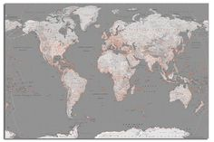 World Map In Sliver And Orange Large Wall Poster New - Laminated Available in Art, Art Posters | eBay!