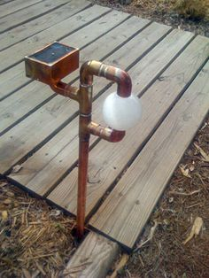 Solar-powered steampunk garden globe lamp - very creative DIY dude playing in the welding shop! Good 'how he did it' section including lessons learned - which made me giggle. Great inspiration for garden art!