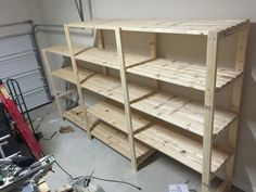 Garage shelves diy how to build a shelving unit with wood garage shelving diy from 2x4s do it yourself home projects from ana white perfect for tote storage solutioingenieria Image collections