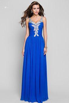 2013 Prom Dresses Sheath/Column Floor Length V Neck Chiffon Beading & Sequins