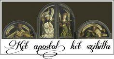 Genti oltár: két apostol és két szibilla az angyali üdvözlet felett, a bezárt szárnyakon