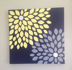 Super easy, cheap,  DIY flower art   Supplies: Canvas, Scrapbook paper, silhouette cameo (optional), acrylic paint, mod podge.   Directions: 1. Paint canvas 2. Cut petals (can cut from template or with Cameo) 3. Mod podge over DRY paint, let dry 4. Arrange petals 5. Glue down with mod podge 6. Let dry completely**** 7. Mod podge over the top