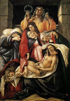 "Técnica de perspectiva (profundidade) ""A lamentação"" 1495 Botticelli"