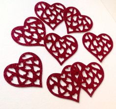 Card Heart Shape,Hearts within a Heart,Glittered Card,Pk of 50 £1.50