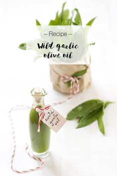 If you think that I'm tired of wild garlic by now, you're mistaken. I made another recipe to preserve it: wild garlic oil! Garlic Olive Oil, Wild Garlic, Look What I Made, Preserving Food, Place Card Holders, Recipes, Food Storage, Rezepte