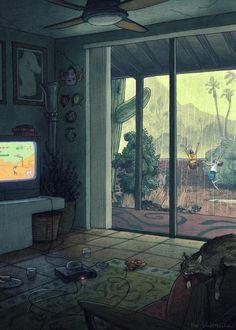 Illustration by Matt Rockefeller, via Behance (AMAZING artwork - check out link) Wow Art, Anime Scenery, Aesthetic Art, Cute Art, Pixel Art, Art Inspo, Fantasy Art, Concept Art, Art Drawings