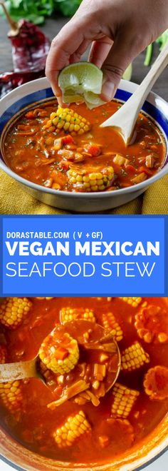 Vegan Mexican Seafood Stew This Mexican Seafood Stew Is A Spicy Healthy Easy Recipe That Is Full Of Vegetables Like Corn Hearts Of Palm Mushrooms Carrots And Celery Simmered In A Tomato Chile Broth Veganmexican Veganstew Vegan Mexican Recipes, Vegan Dinner Recipes, Vegan Dinners, Easy Healthy Recipes, Lunch Recipes, Seafood Recipes, Easy Meals, Cooking Recipes, Chili