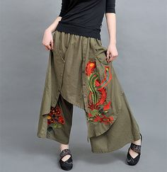 Gender: Women Decoration: None Fit Type: Loose Pant Style: Wide Leg Pants Pattern Type: Solid Front Style: Flat Style: Chinese Style Waist Type: Mid Fabric Type: Broadcloth Material: Cotton Length: Ankle-Length Pants Closure Type: Elastic Waist Size(cm): One Size: length: 86cm, Waist: 58-80cm, Thigh: 70cm Unit:cm 1cm=0.39Inch 1Inch=2.54cm (There are about 1-3cm tolerance )